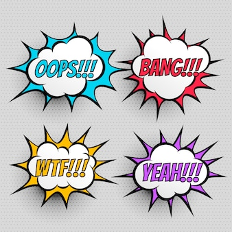 Efekt tekstowy wyrażenie komiks zestaw czterech