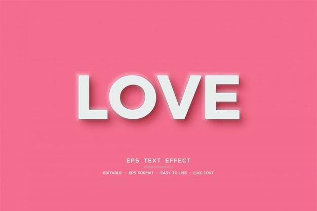 Efekt tekstowy z białym napisem miłość na różowym tle.