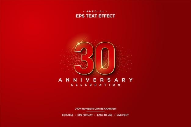Efekt tekstowy z eleganckimi czerwonymi numerami 30-lecia.