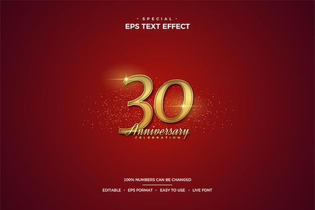 Efekt tekstowy z luksusowymi złotymi numerami 30-lecia na czerwonym tle.