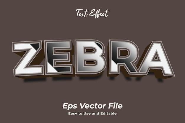 Efekt tekstowy zebra łatwy w użyciu i edytowalny wektor premium