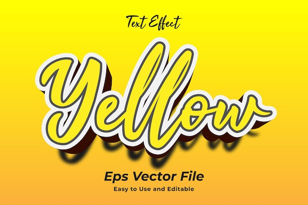 Efekt tekstowy żółty edytowalny i łatwy w użyciu wektor premium