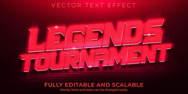 Efekt tekstowy zwycięzcy e-sportu, edytowalna gra i neonowy styl tekstu