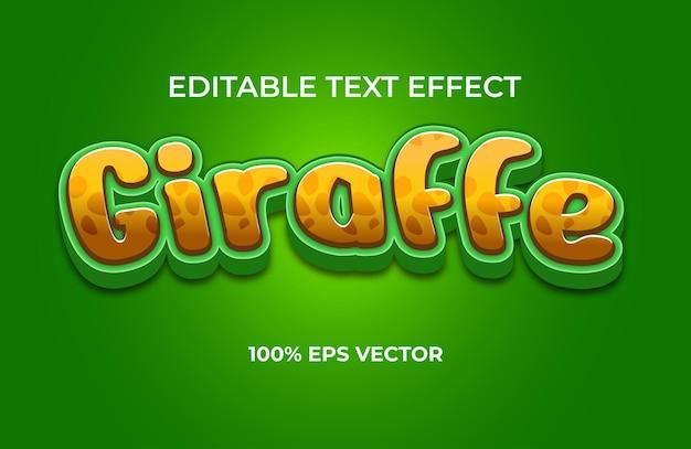 Efekt tekstowy żyrafa premium wektorów
