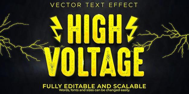 Efekt tekstu elektrycznego wysokiego napięcia, edytowalny styl tekstu mocy i niebezpieczeństwa