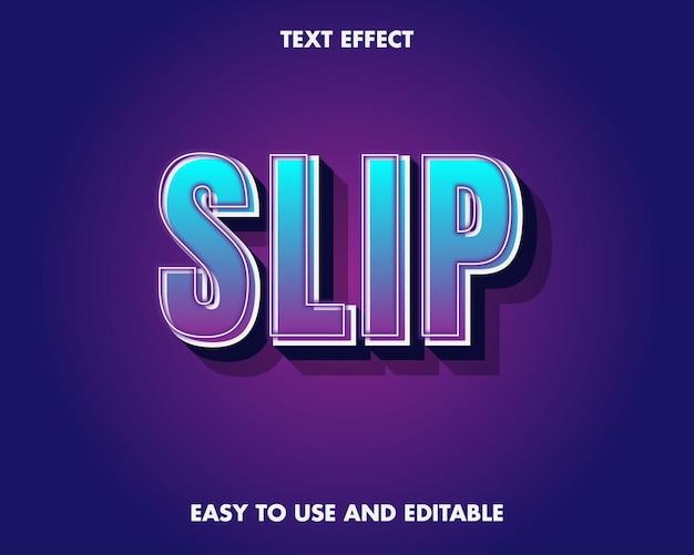 Efekt tekstu poślizgu. edytowalny efekt czcionki.