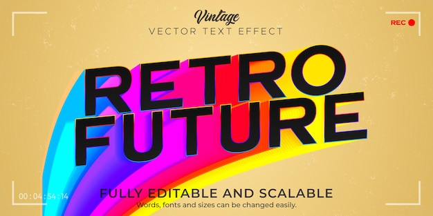 Efekt tekstu retro, vintage, edytowalny styl tekstu z lat 70. i 80.