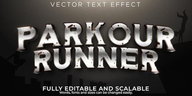 Efekt tekstu ulicy biegacza z edytowalnym metalicznym i miejskim stylem tekstu