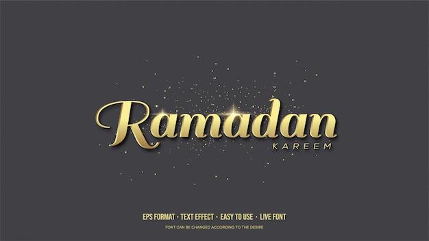 Efekt tekstu wektor z złotym piśmie ramadan.