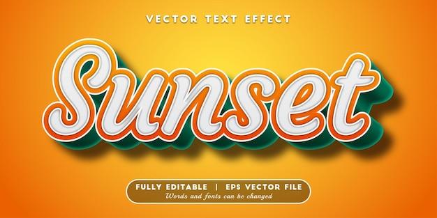 Efekt tekstu zachodu słońca z edytowalnym stylem tekstu