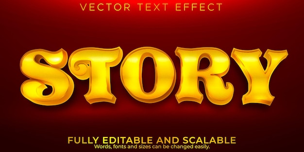 Efekt tekstu złotej historii, edytowalna magia i błyszczący styl tekstu
