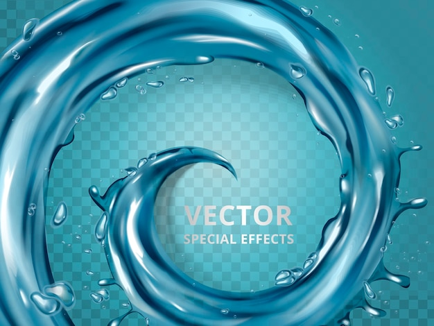 Efekt wirowy wody lub niebieskiej cieczy, ilustracja 3d na białym tle