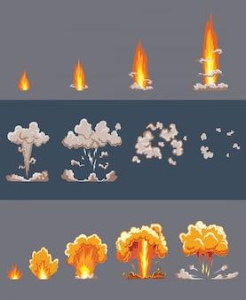 Efekt wybuchu kreskówki z dymem. komiczny efekt boomu, eksploduje flash, komiks bombowy, ilustracja. animacja efektu eksplozji. ramki wybuchu kreskówka bang. ramki animacyjne do gry