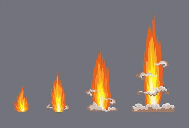 Efekt wybuchu kreskówki z dymem. komiczny efekt boomu, eksploduje flash, komiks bombowy, ilustracja. duszek ramki. ramki animacyjne do gry