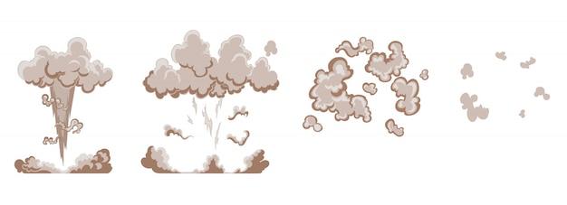 Efekt wybuchu kreskówki z dymem. komiksowy efekt boomu, eksplozja flasha, komiks bomby, ilustracja. animacja efektu wybuchu. ramki wybuchu kreskówka huk. klatki animacyjne do gry