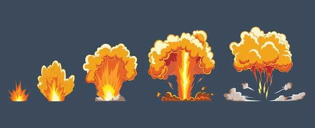 Efekt wybuchu kreskówki z dymem. komiksowy efekt boomu, eksplozja flasha, komiks bomby, ilustracja. sprite ramki. klatki animacyjne do gry.