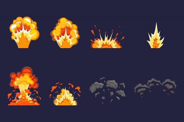 Efekt wybuchu z dymem, płomieniem i cząsteczkami. wybuch dynamitu, bomba atomowa, dym po wybuchu. wybuch bomby w kreskówce.