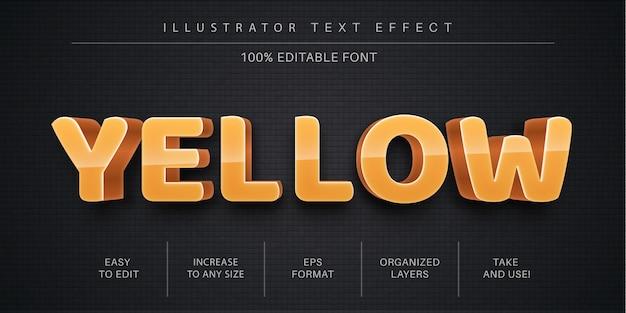 Efekt żółtego tekstu edytowalnego 3d