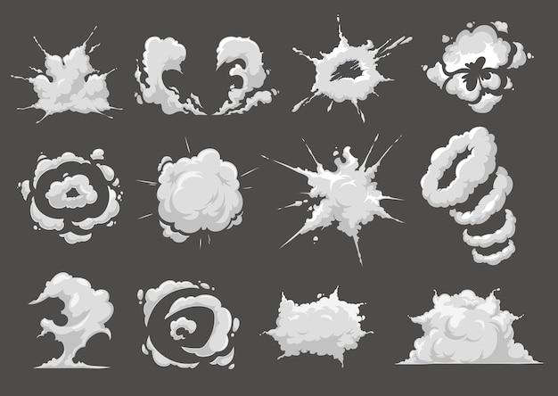 Efekty kreskówek wybuchu lub wybuchu. detonacja bomby lub materiału wybuchowego, ślad dymu po wystrzeleniu rakiety i chmura pyłu. komiczny bum, huk lub uderzenie, wybuch ataku