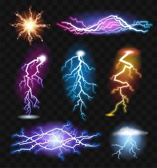 Efekty piorunowe - realistyczny nowoczesny wektor zestaw różnych elementów świetlnych. czarne tło. wysokiej jakości obrazki o różnych jasnych zjawiskach naturalnej energii elektrycznej