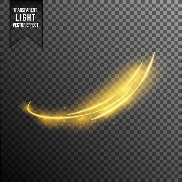 Efekty świetlne, fale. złote, błyszczące magiczne cząsteczki złota na przezroczystym tle. lśniące szlaki świetlne. futurystyczny flash.