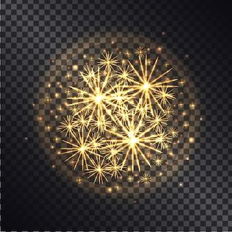 Efekty świetlne płonących ogni w promiennym kole z żółtym brokatem na ciemnym przezroczystym