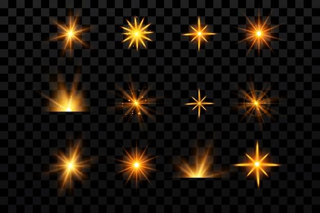 Efekty świetlne ustawiają złote gwiazdy