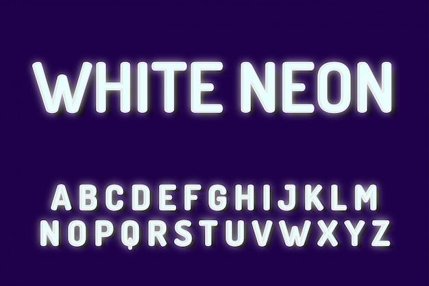 Efekty tekstowe alfabetu biały neon czcionki