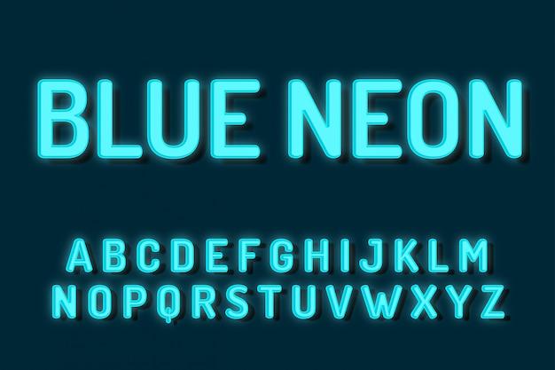 Efekty tekstowe alfabetu niebieski neon czcionki