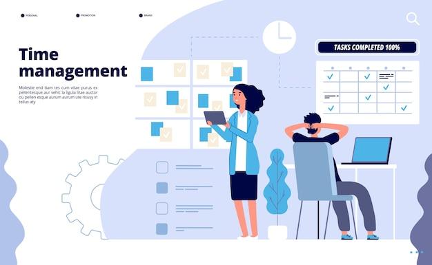 Efektywne zarządzanie czasem. planowanie biznesowe, rozwiązanie do pracy zespołowej w biurze. idealny szablon strony docelowej aplikacji do planowania priorytetów.