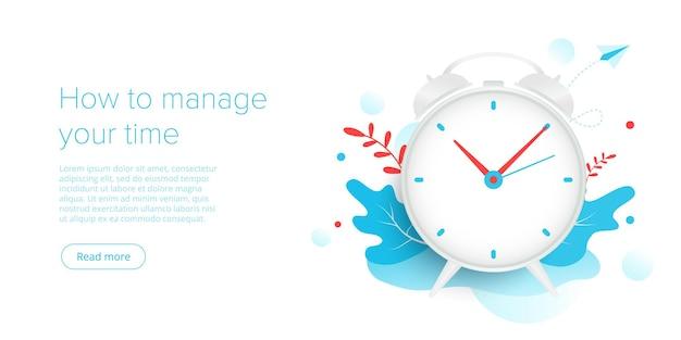 Efektywne zarządzanie czasem w płaskiej ilustracji wektorowych ludzie pracujący i ustalający priorytety w organizacji