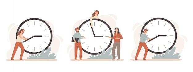 Efektywny czas pracy. stawka godzin pracy, ludzie biznesu pracują na zegarach i terminach zarządzania czasem zegar zestaw ilustracji
