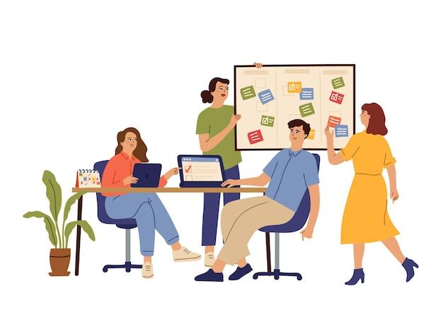 Efektywny zespół biznesowy. grupa biurowa, umowa o współpracy lub planowanie agendy. płaskie produktywnych ludzi pracujących razem koncepcja wektor. ilustracyjny zespół biznesowy skuteczny