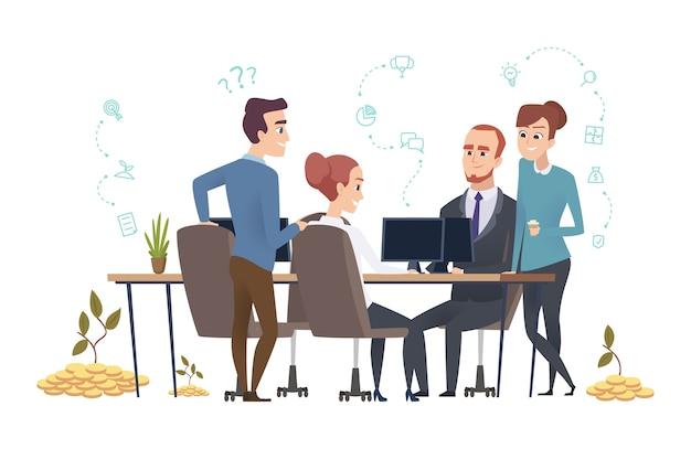 Efektywny zespół biznesowy. grupa osób tworzy startup. inwestorzy omawiają ilustrację projektu. zarządzanie startem pracy zespołowej, pracownik korporacyjny