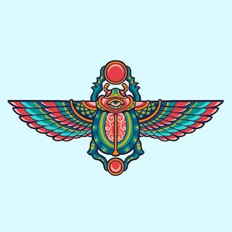 Egipska ilustracja chrząszcza skarabeusza