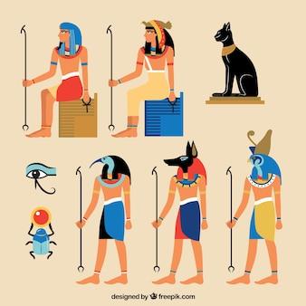 Egipska kolekcja bogów i symboli o płaskiej konstrukcji