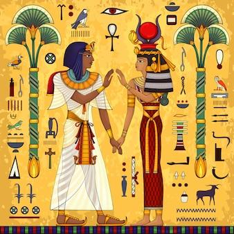 Egipski hieroglif i symbol kultura starożytna śpiewa i symbol. tło historyczne. bogini starożytnej.