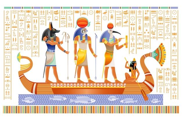 Egipski papirus z bogami w łodzi.