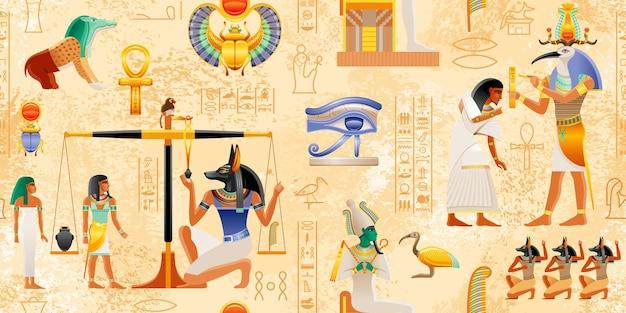 Egipski papirus z elementami faraona ankh skarabeusz słońce starożytna sztuka historyczna mitologia egiptu z księgi umarłych