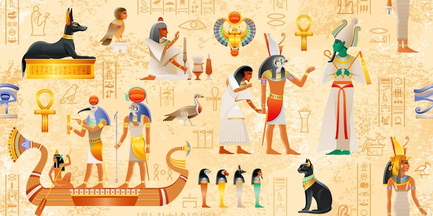 Egipski papirus z elementami faraona egipska mitologia ankh scarab cat dog wadjet