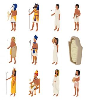 Egipski starożytny egipt ludzie charakter faraon horus bóg mężczyzna kobieta kleopatra w egiptologii historia cywilizacji zestaw ilustracji na białym