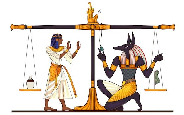 Egipski starożytny symbol na białym tle postać bóstw starożytnego egiptu