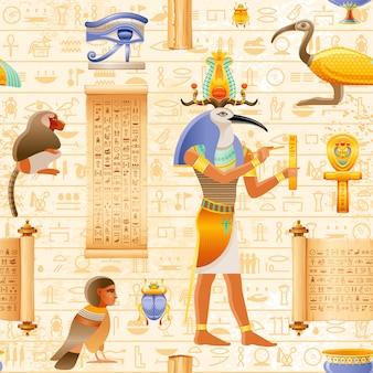 Egipski wektor wzór papirusu bez szwu z elementem thoth ibis boga i faraona - ankh, oko wadjet, zwój papirusu. starożytna sztuka historyczna.