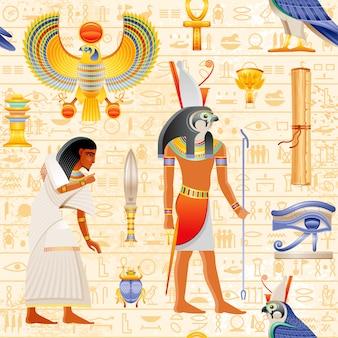 Egipski wzór papirusu bez szwu z falcon horus god i elementem faraona - ankh, scarab, oko wadjet, niewolnik. antyczna historyczna sztuka forma egipt z hieroglifu wzoru tłem.
