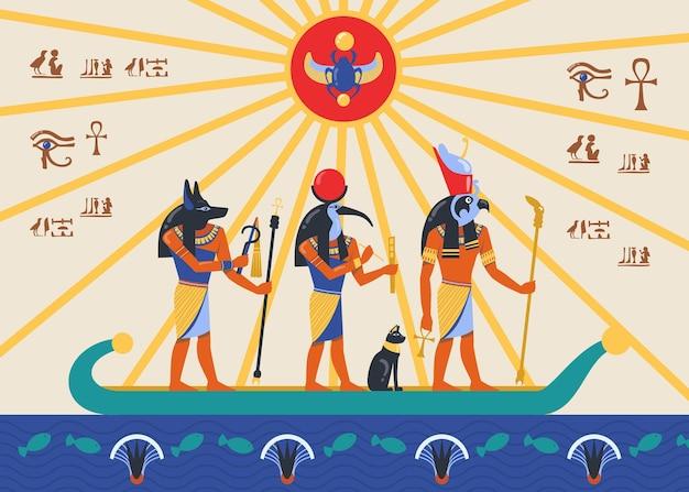 Egipskie bóstwa lub bogowie pływają na papirusie lub płaskorzeźbie łodzi trzcinowej. ilustracja kreskówka.