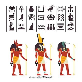 Egipskie hieroglify i kolekcja elementów bogów
