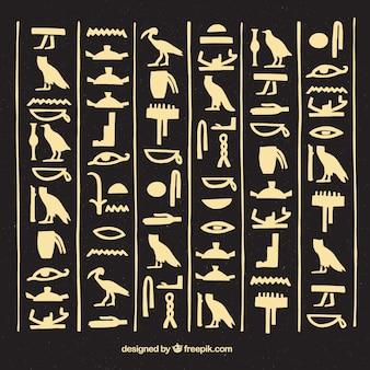 Egipskie hieroglify tło z płaska konstrukcja
