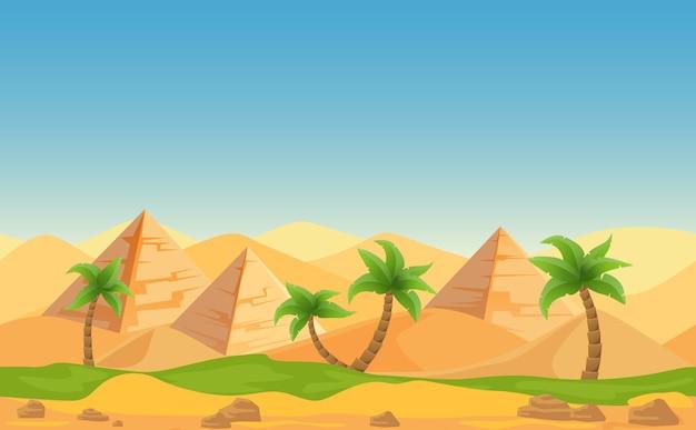 Egipskie piramidy z palmami w pustynnym krajobrazie. ilustracja kreskówka.