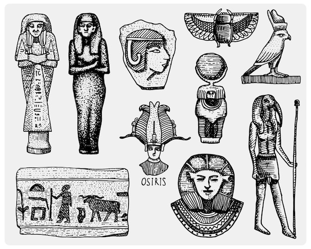 Egipskie symbole, faraon, scorob, hieroglify i głowa ozyry, bóg vintage