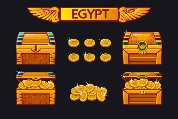 Egipt antyczna skrzynia skarbów i złote monety